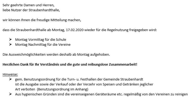 Sperrung der Straubenhardthalle aufgehoben! Ab Montag wieder Normalbetrieb!