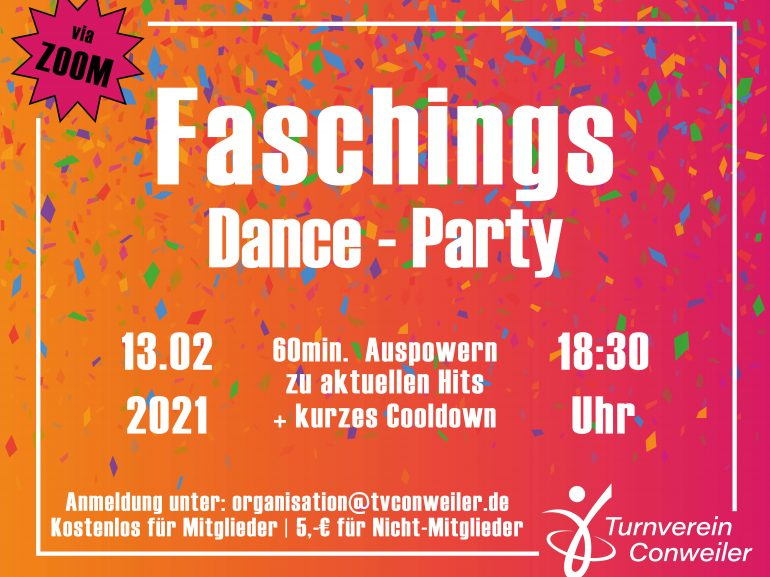 Faschings Dance-Party! Samstag - 13.02.2021